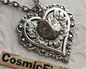 Owl Necklace Antiqued Silver Heart Necklace Vintage Inspired Steampunk Necklace Swarovski Crystal Eyes Rustic Gothic Victorian Jewelry
