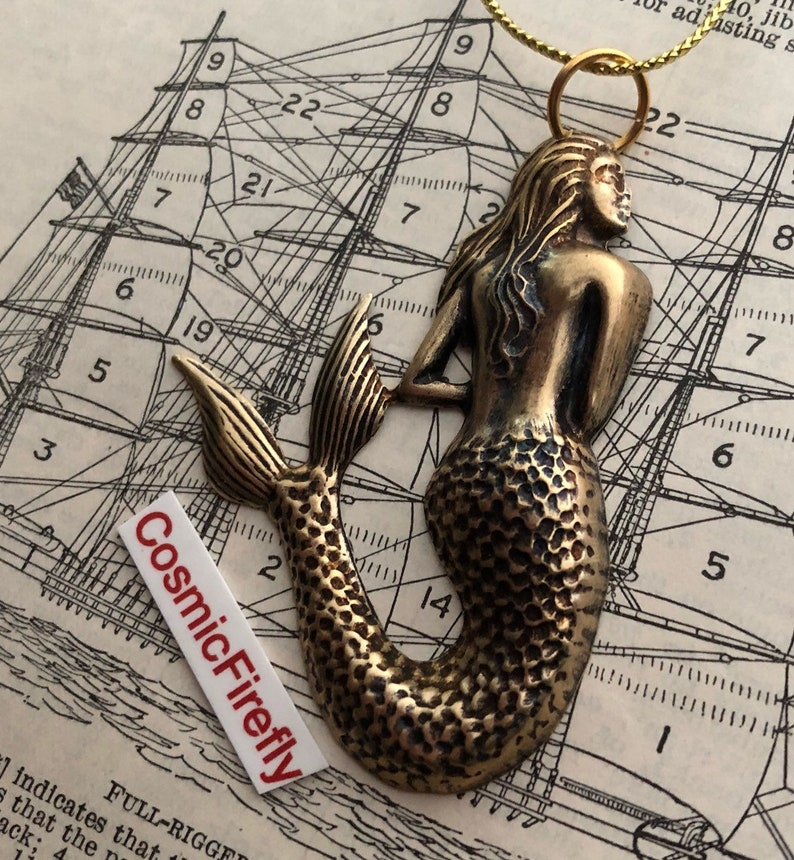 Brass Mermaid Christmas Ornament Antiqued Brass Rustic Gothic image 0