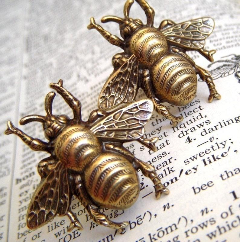 Men's Cufflinks Large Brass Bee Cufflinks Big Size image 0