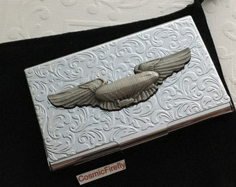 Business Card Case Steampunk Airship Dirigible Blimp Wings Shiny Silver Plated Card Holder Gothic Victorian Floral Leaf Pattern