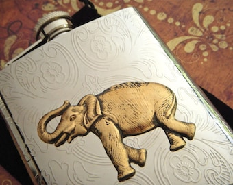 Elephant Flask Gothic Victorian Steampunk Style Vintage Inspired Large Size 8 Ounce Silver & Brass Mixed Metals Big Animal Safari