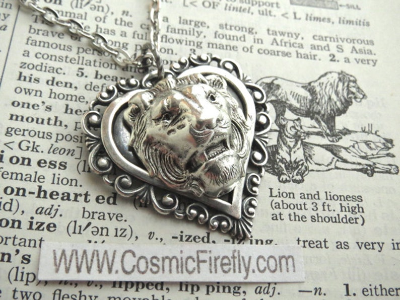 Lion Heart Necklace Antiqued Silver Plated Novelty Art Jewelry image 0