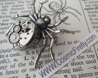Steampunk Spider Pin Brooch Vintage Movement Rustic Primitive Antique Gothic Victorian Gothic Brooch Metal Spider Pin