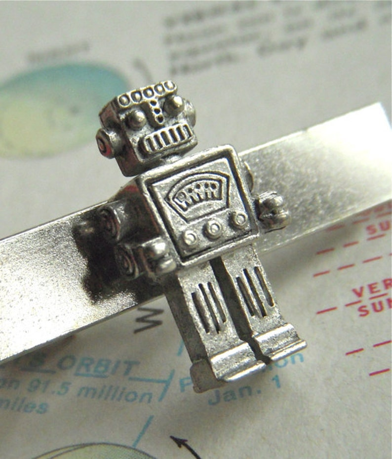 Tie Bar Robot Men's Accessories & Gifts Silver Plated image 0