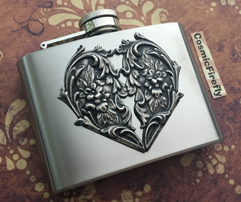 Victorian Heart Flask Steampunk Flask Stainless Steel Metal image 0