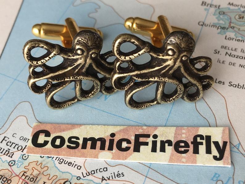 Men's Cufflinks Antiqued Gold Brass Octopus Cufflinks image 0