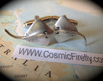 Silver Cufflinks Men's Cufflinks Manta Ray Bat Ray Fish Sealife Stingray Vintage Inspired Victorian Steampunk Style Cuff Links & Accessories