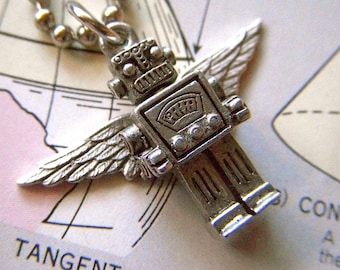 Tiny Flying Robot Necklace Steampunk Wings Small Silver Plated Miniature Sci Fi Jewelry Retro Art Deco Tiny Size