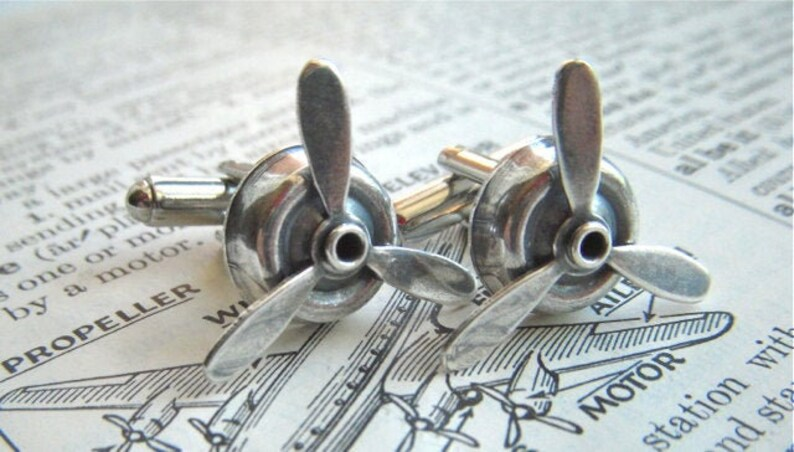 Steampunk Propeller Cufflinks Antiqued Silver Spinning Cuff image 0