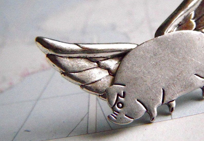 Flying Pig Lapel Pin Tie Tack Hat Pin Silver Plated Wings image 0