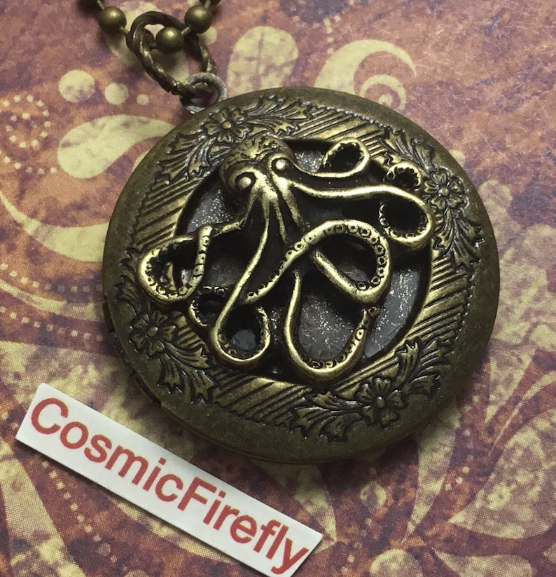 Antiqued Brass Octopus Locket Necklace Rustic Jewelry Brass image 0