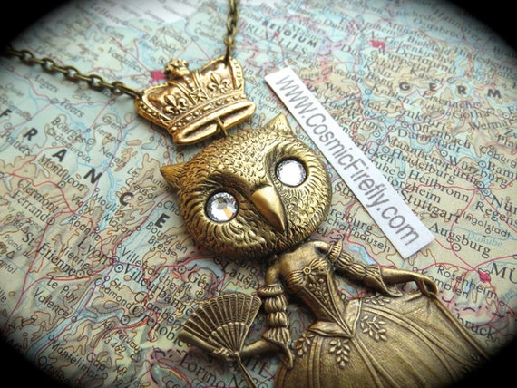 Steampunk Necklace Gothic Victorian Owl Queen Owl Necklace Handcrafted Jewelry Gold Crown Owl Girl Swarovski Crystal Eyes Rustic Brass Metal