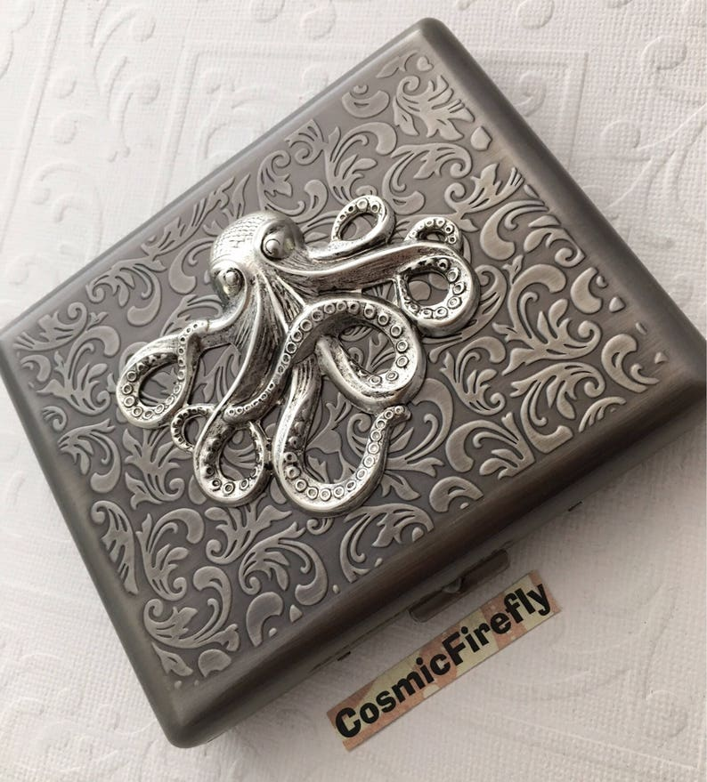 Large Cigarette Case Antiqued Silver Octopus Case Big Size image 0
