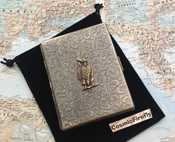 Wise Owl Metal Cigarette Case Antiqued Brass Case Vintage Inspired Art Nouveau Gothic Victorian Steampunk Style Large Slim Card Case NEW