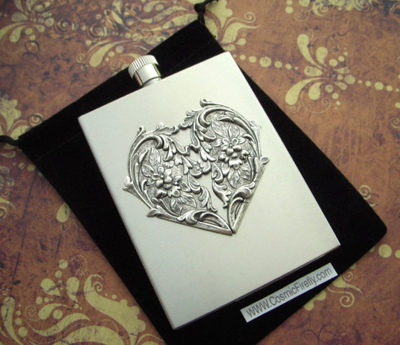 Rustic Silver Heart Flask Industrial Steampunk Style Victorian image 0