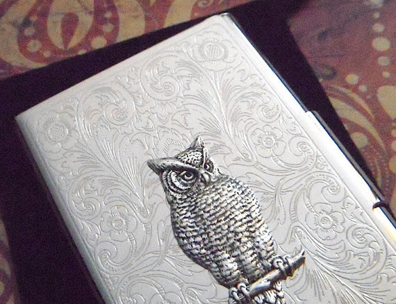 Fancy Owl Business Card Case Gothic Victorian Steampunk Style Silver Plated Metal Wallet