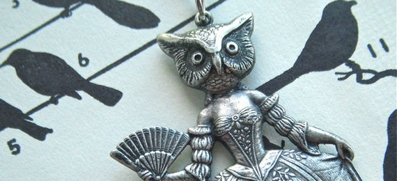 Silver Owl Necklace Gothic Victorian Steampunk Necklace Owl Woman Necklace Dark Circus Sideshow Carnival Freak Handcrafted Art Jewelry