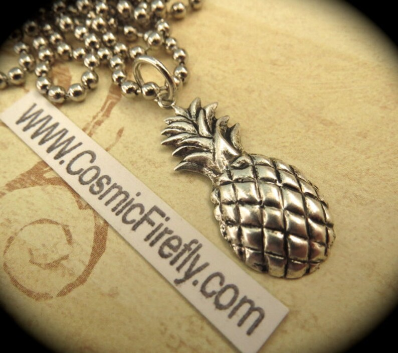 Antiqued Silver Pineapple Necklace Vintage Style Silver Plated image 0