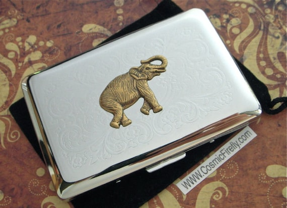 Elephant business card case silver plated vintage inspired etsy image 0 colourmoves