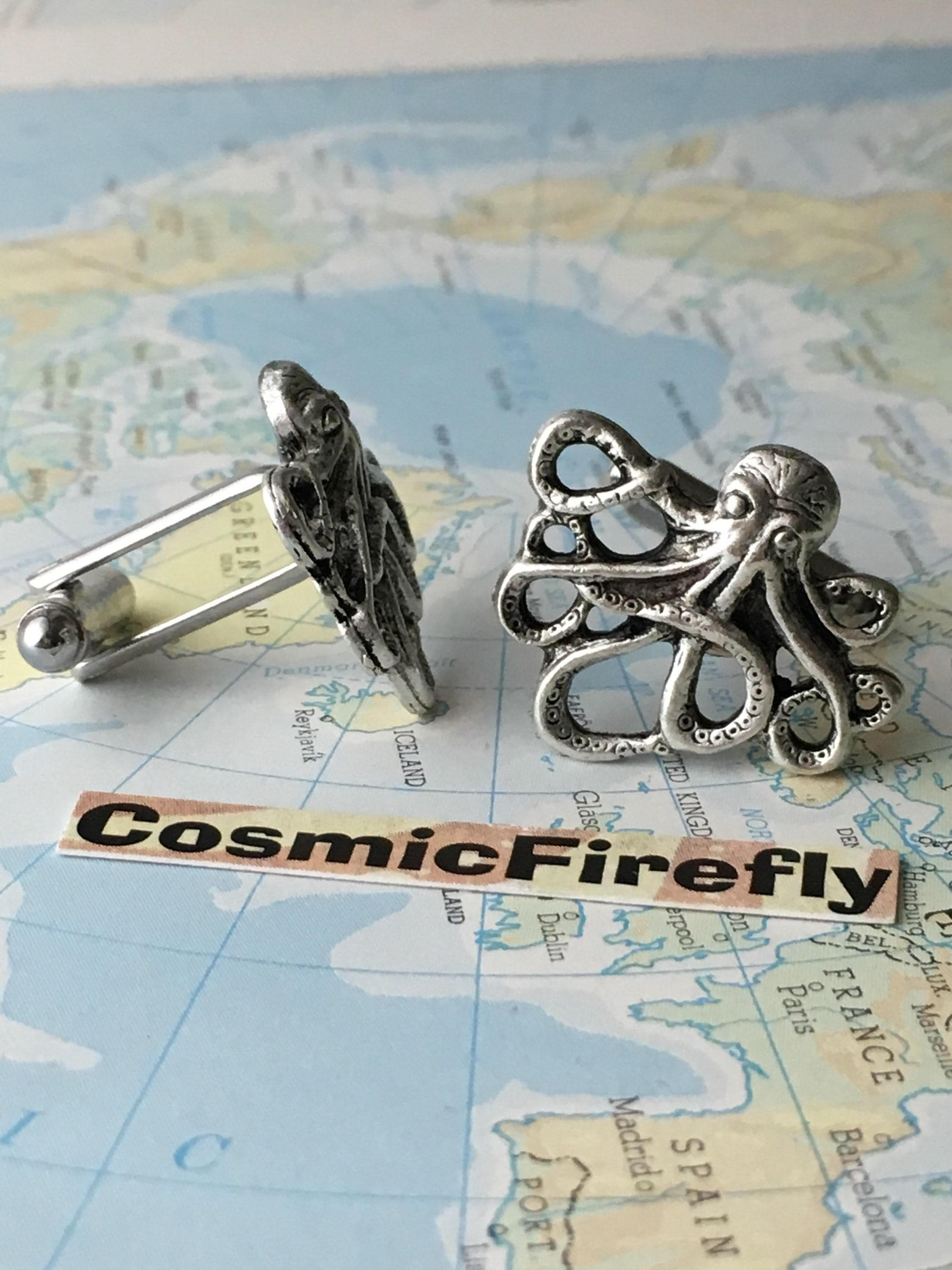 Silver Octopus Cufflinks Popular Men's Cufflinks Vintage Inspired Silver Cufflinks By Cosmic Firefly Best Men's Accessories & GIfts For Him