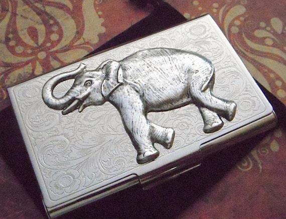 Visitenkarten Etui Silber Elefant Karte Gehäuse Metall Karte Halter Viktorianischen Steampunk Männer Frauen Geschenke