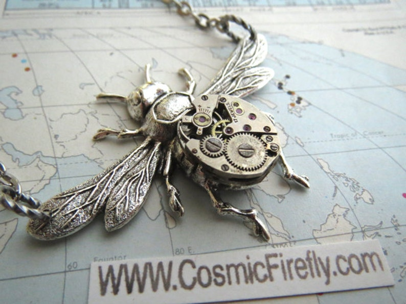 Steampunk Necklace Antiqued Silver Plated Bee Necklace Tiny image 0