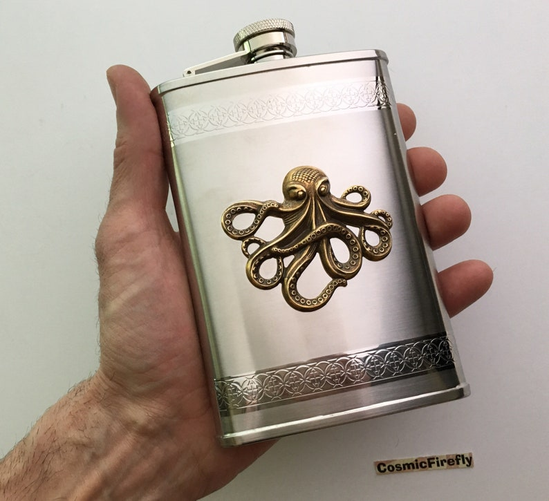 Big Octopus Flask Nautical Steampunk Style Stainless Steel image 0