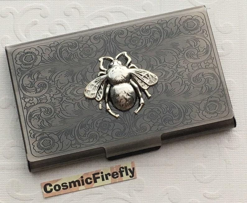 Antiqued Silver Bee Gothic Victorian Style Slim Vintage image 0