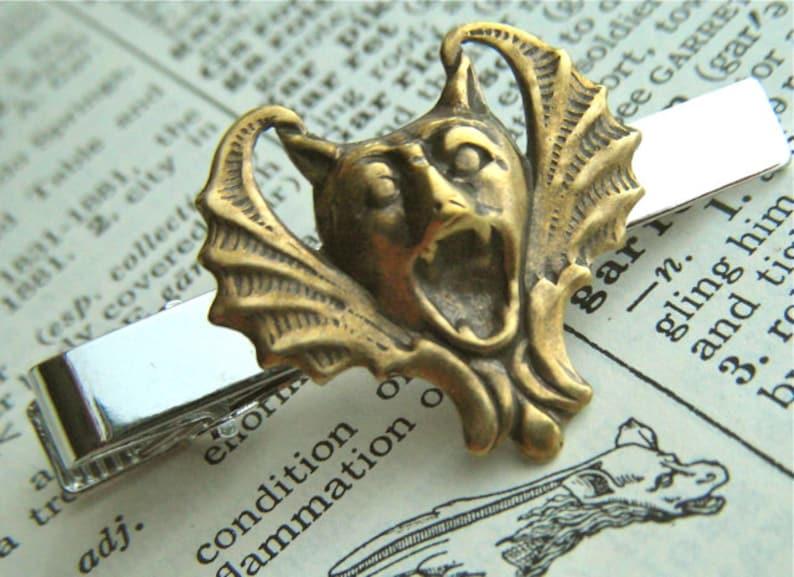 Gargoyle Tie Clip Vampire Bat Tie Bar Gothic Victorian Tie image 0