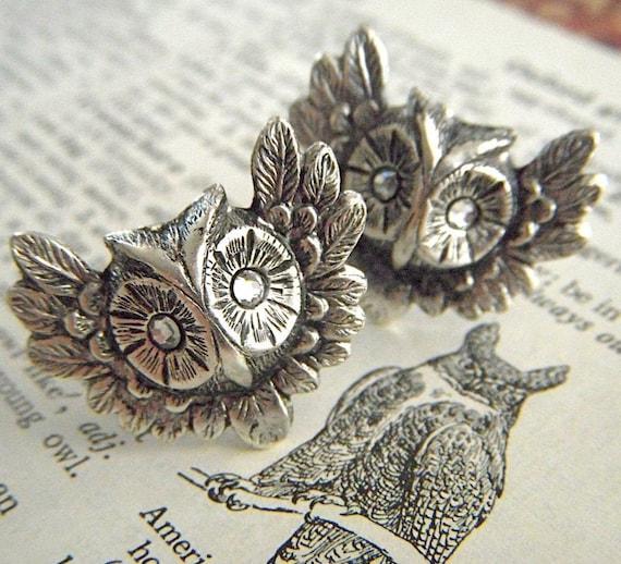 Owl Cufflinks Swarovski Crystal Eyes Gothic Victorian Vintage Inspired Antiqued Silver Plated Men's Cufflinks
