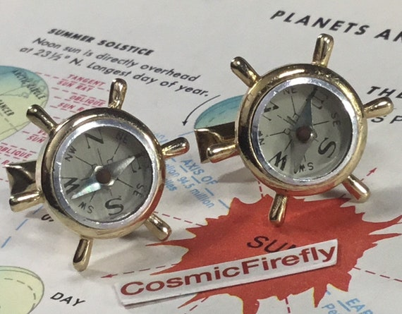 Vintage Nautical Compass Cufflinks 1950's SWANK St