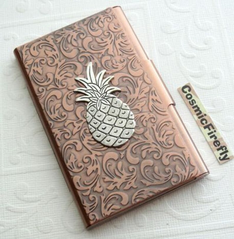 new arrival 5459c 2e9ca Silver Pineapple Card Case Copper Business Card Case Card Holder Gothic  Victorian Card Case New Handcrafted Card Case Tropical Card Holder