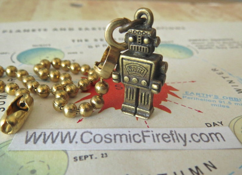 Tiny Robot Fan Pull Chain Steampunk Fan Pull Antiqued Brass image 0