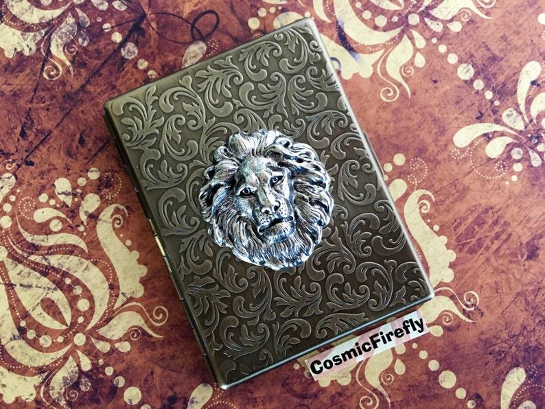 Slim Lion Cigarette Case Antiqued Brass Steampunk Case Silver image 0