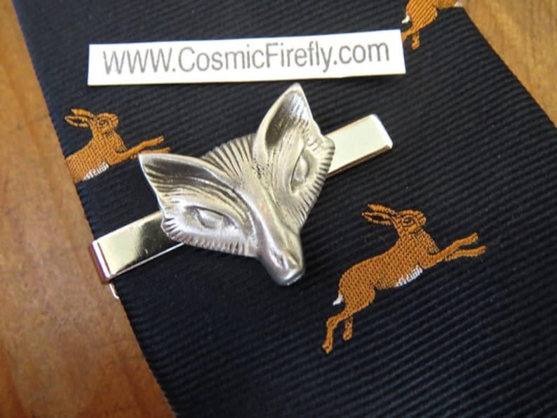 Silver Fox Tie Clip Men's Gifts For Him Men's Tie image 0
