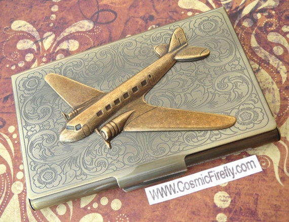 Brass airplane case business card holder steampunk card holder colourmoves