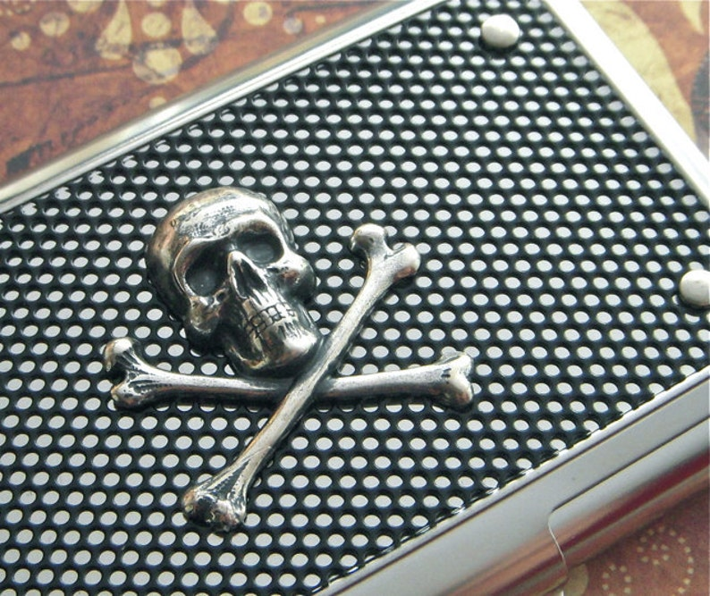 Silver Skull Business Card Case Skull Card Case Industrial image 0