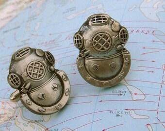 LARGE Steampunk Cufflinks Diving Helmet Cufflinks Men's Cufflinks Big Cufflinks Nautical Cufflinks Men's Gifts