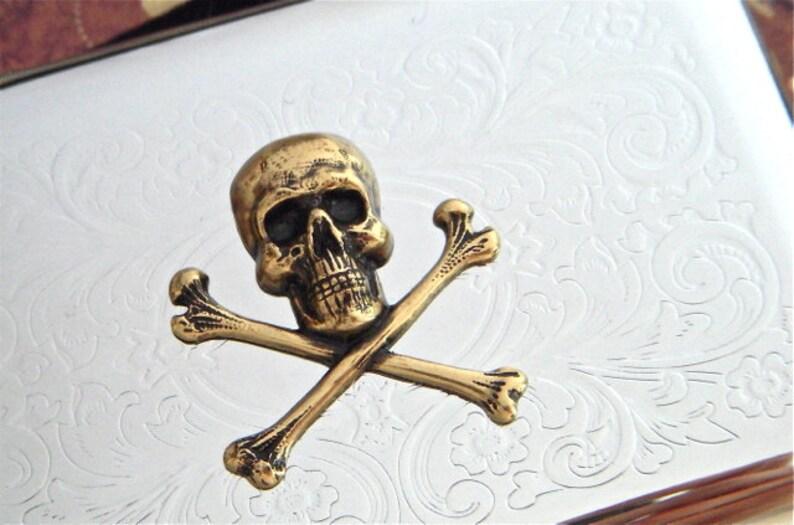 Skull & Crossbones Business Card Case Steampunk Card Case image 0