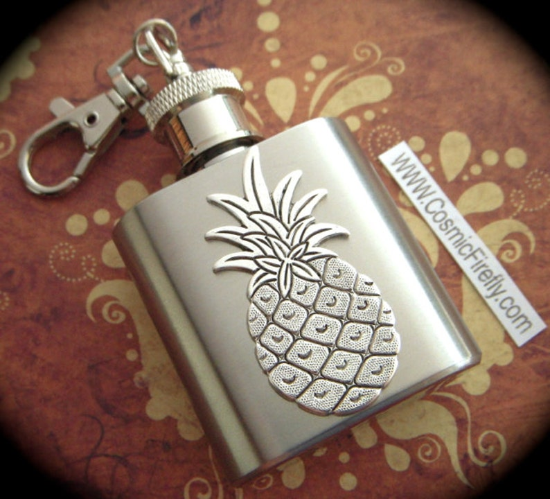 Mini Flask Keychain Silver Pineapple Flask 1 Ounce Gothic image 0