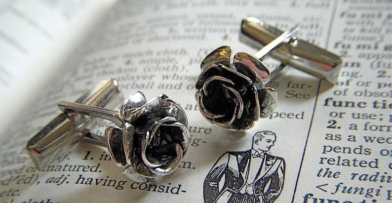Men's Steampunk Cufflinks Gothic Victorian Roses Antiqued image 0