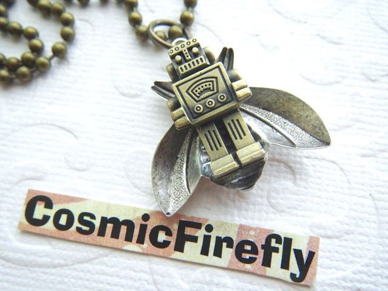 BEEBOT Steampunk Necklace Robot Bee Necklace Miniature Robot image 0