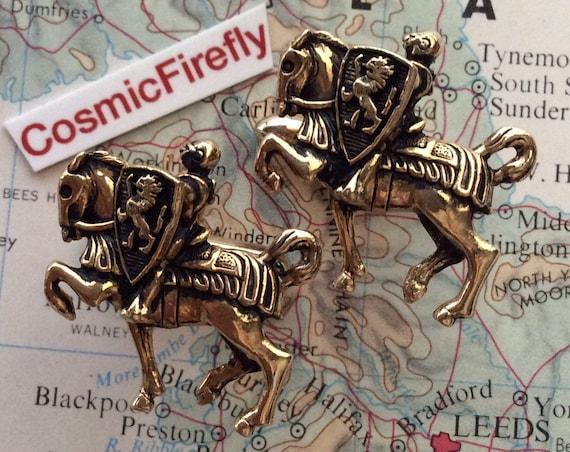 Vintage Knight On Horse Cufflinks Figural Medieval