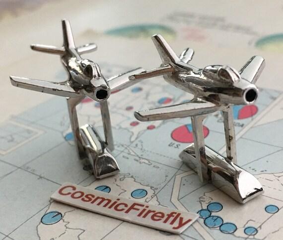 Mid Century Vintage Cufflinks USAF Jet Fighter Plane Steampunk Cufflinks Men/'s Cufflinks Antique Cufflinks Jet Pilot Tie Bar ANSON