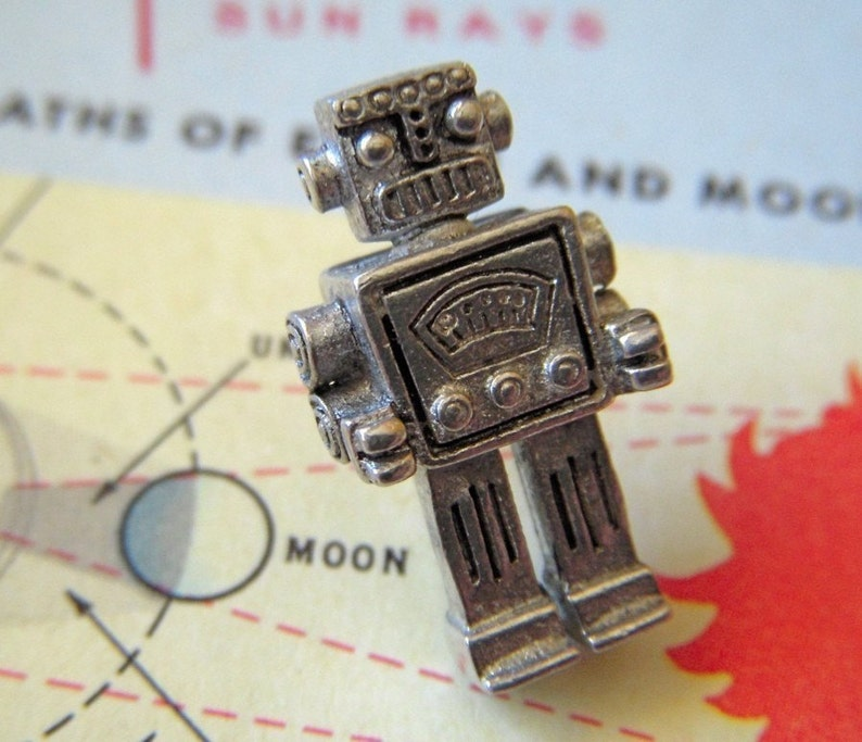 Steampunk Robot Tie Tack Silver Robot Pin By Cosmic Firefly image 0