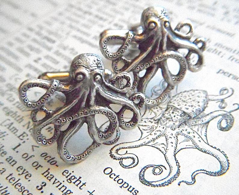 Men's Cufflinks Silver Octopus Cufflinks Silver Cufflinks image 0