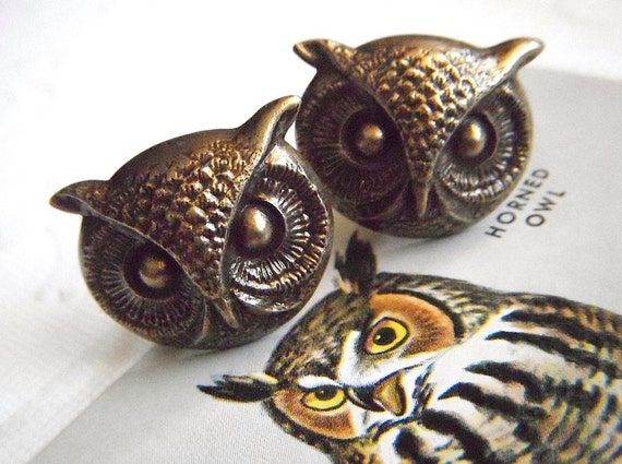 Owl Cufflinks BIG & Bold Gothic Victorian Steampunk Style Vintage Inspired Men's Accessories Large Size Brass Owl Cuff Links Men's Cufflinks