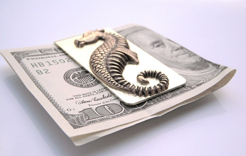 Brass Seahorse Money Clip Vintage Inspired Antiqued Brass image 0