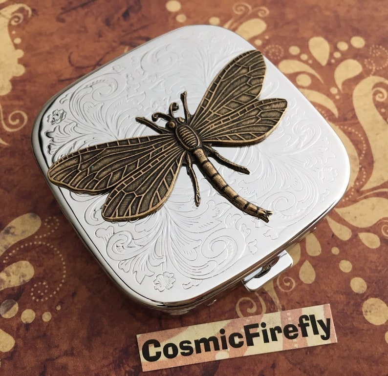 Dragonfly Pill Case with Mirror Gothic Victorian Steampunk image 0