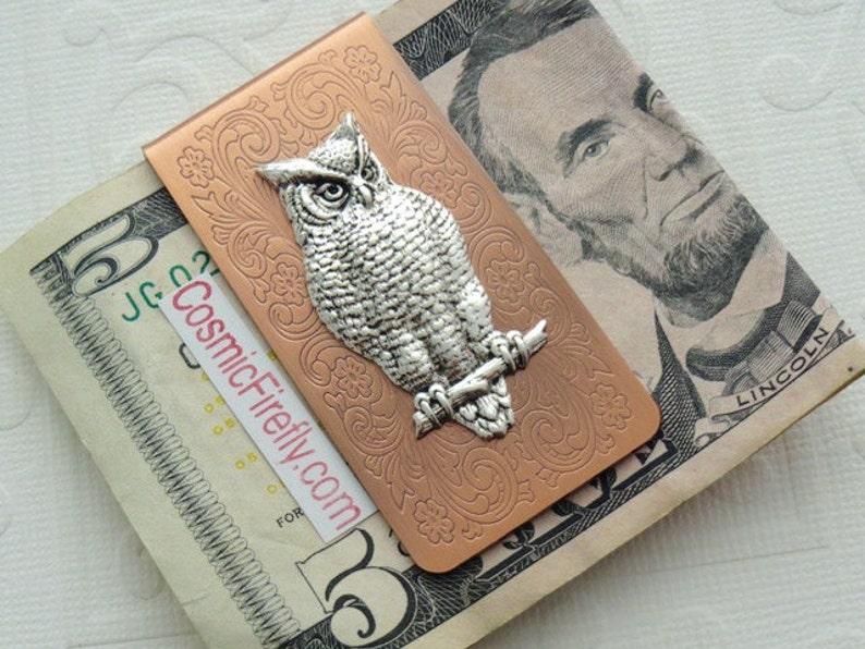 Victorian Owl Money Clip Copper Money Clip Silver Owl   Etsy